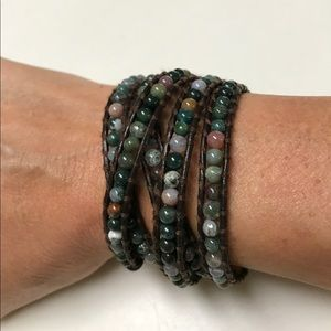 Jewelry - Brown Leather Wrap Bracelet with Earth Tone Beads